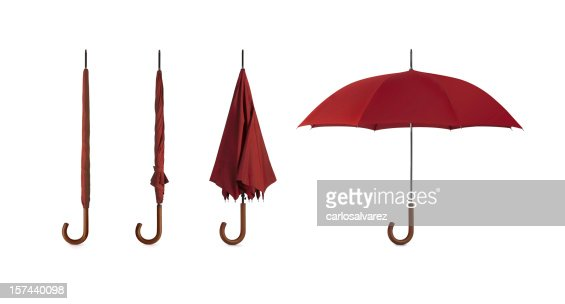 Four pictures of umbrellas in different positions