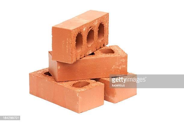 Vier red bricks, isoliert auf weiss