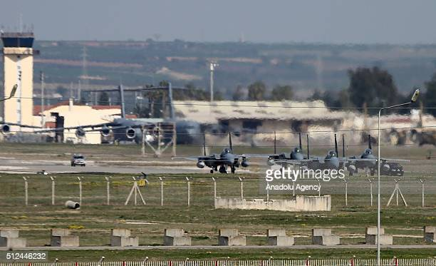 Four Saudi fighter jets which will support the coalition forces as part of the fight against Daesh land at Incirlik base in Adana southern Turkey on...