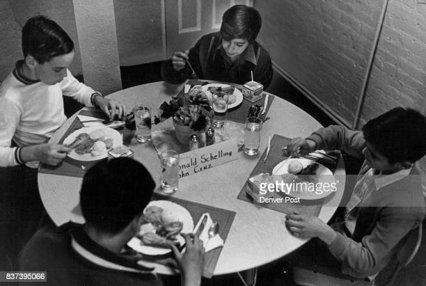 Four Sixth Grade Boys Get Special Treatment At Honor Table In Elmwood School's Lunchroom Seated Clockwise around the table from left are Ronald...