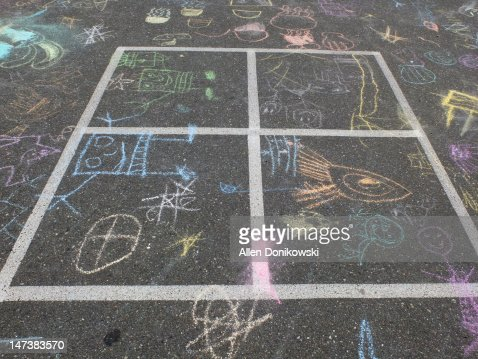 Four square parking lot chalk drawings : Stock Photo