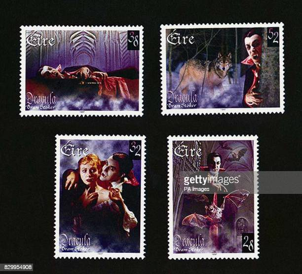 Four stamps launched today by the Irish Postal Service to mark the centenary of the publication of Bram Stoker's 'Dracula' and the 150th anniversary...
