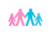 Four stick figures standing together over white background