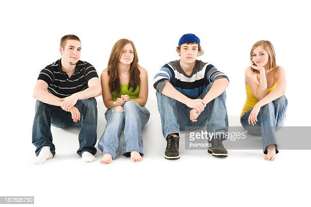 Four Teen Friends Sitting in a Row