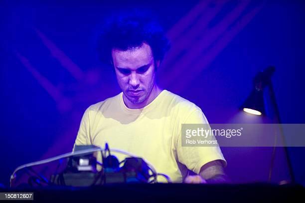 Four Tet aka Kieran Hebden performs on stage during Lowlands music festival on August 18 2012 in Biddinghuizen Netherlands