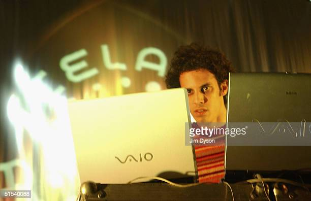 Four Tet aka Kieran Hebden performs with two laptop computers at the Reykjavik Art Museum during the second day of the Iceland Airwaves Music...