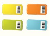 Four ticket stubs with color variation and barcode