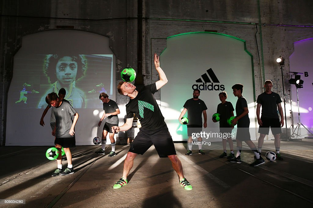 Four time Freestyle Football World Champion Andrew Henderson performs during the adidas ACE football boot launch at Carriageworks on February 10, 2016 in Sydney, Australia.