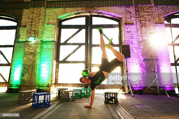 Four time Freestyle Football World Champion Andrew Henderson performs during the adidas ACE football boot launch at Carriageworks on February 10 2016...