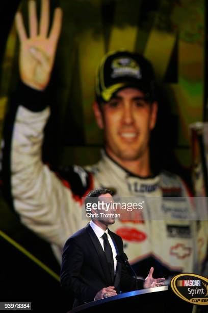 Four time NASCAR Sprint Cup Series Champion Jimmie Johnson speaks during the NASCAR Sprint Cup Series awards banquet during the final day of the...