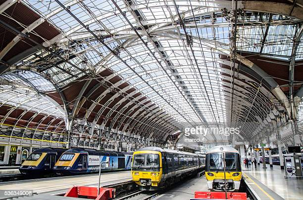 Four trains at the Paddington Station