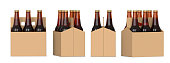 Four views of a six pack of brown beer bottles in cardboard box. 3D render, isolated on white background