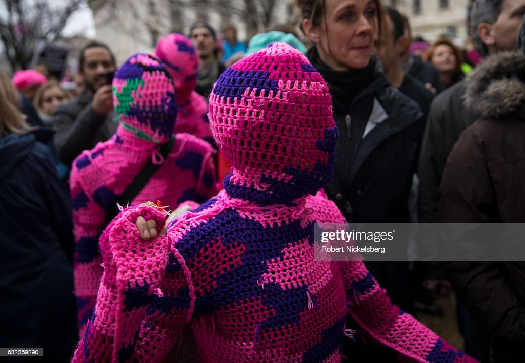 Four women from New York City wear knitted body suits while attending the Women's March on Washington on January 21, 2017 in Washington, DC. President Trump was sworn in as the country's 45th President the day before.