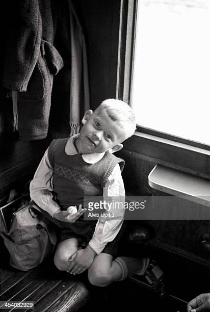 Four year old on train in Germany