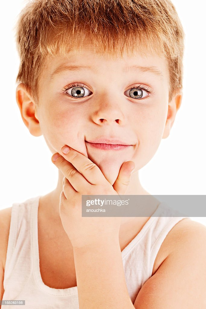Four Years old Cute Boy on White Background