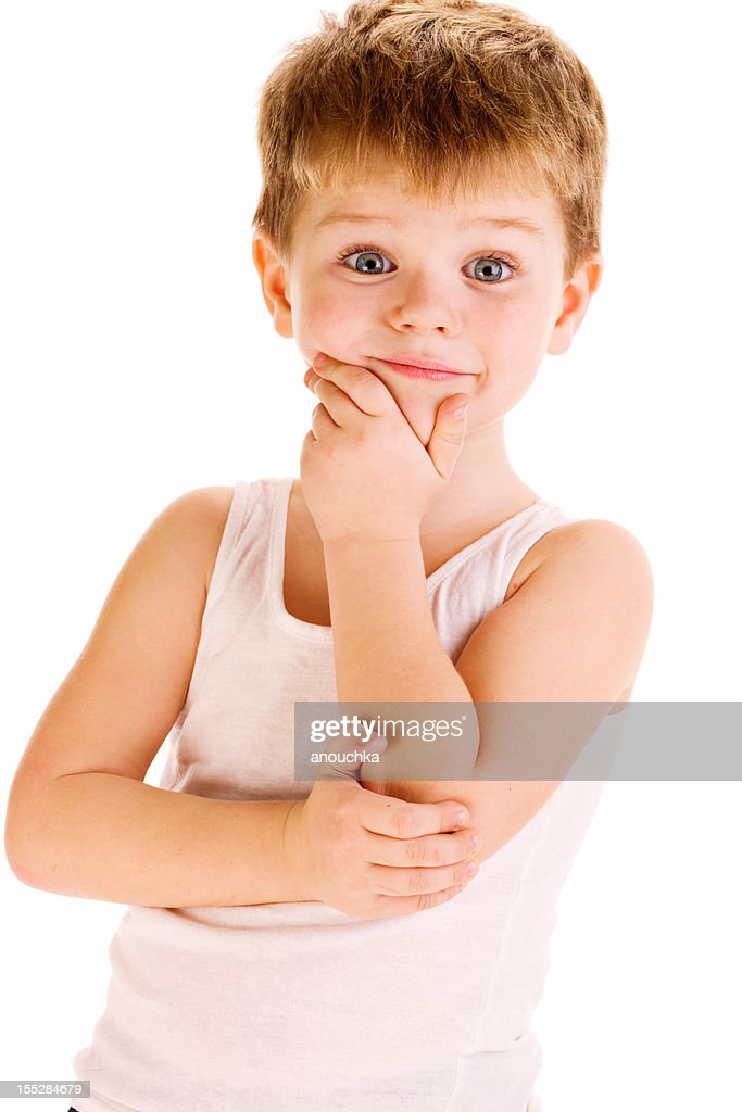 Adorable Four Year Boy With Big Blue Eyes Stock Image: Four Years Old Cute Boy On White Background Stock Photo