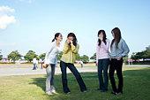 Four Young Women Having Break