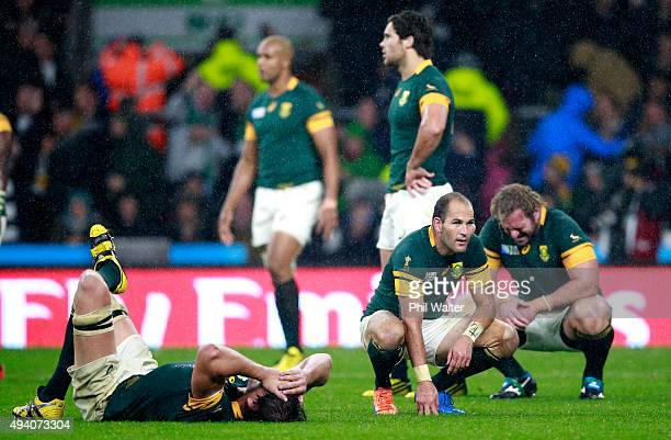Fourie Du Preez of South Africa looks dejected at the end of the match during the 2015 Rugby World Cup Semi Final match between South Africa and New...