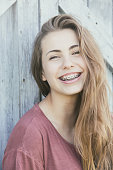 Pretty teen ager with braces