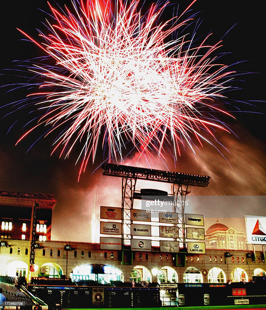 Fourth of July fireworks presentation after the Houston Astros defeated the Tampa Bay Rays 4-1 at Minute Maid Park on July 3, 2013 in Houston, Texas.