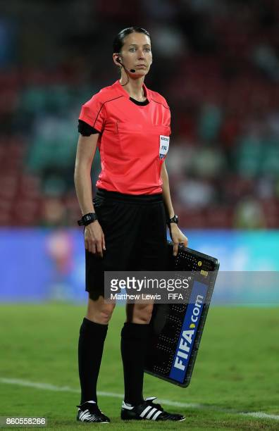 Fourth Official AnnaMarie Keighley in action during the FIFA U17 World Cup India 2017 group B match between USA and Colombia at Dr DY Patil Cricket...