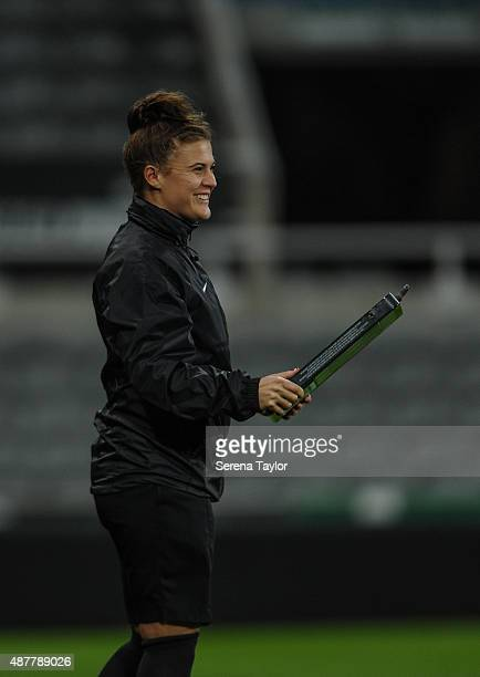 Fourth Official Lucy Oliver holds the substitution board during the U21 Premier league match between Newcastle United and Arsenal at StJames Park on...