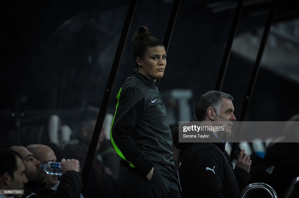 Fourth Official Lucy Oliver stands in the dugouts during the Barclays Premier League U21 match between Newcastle United and Stoke City at St.James' Park on February 8, 2016, in Newcastle upon Tyne, England.