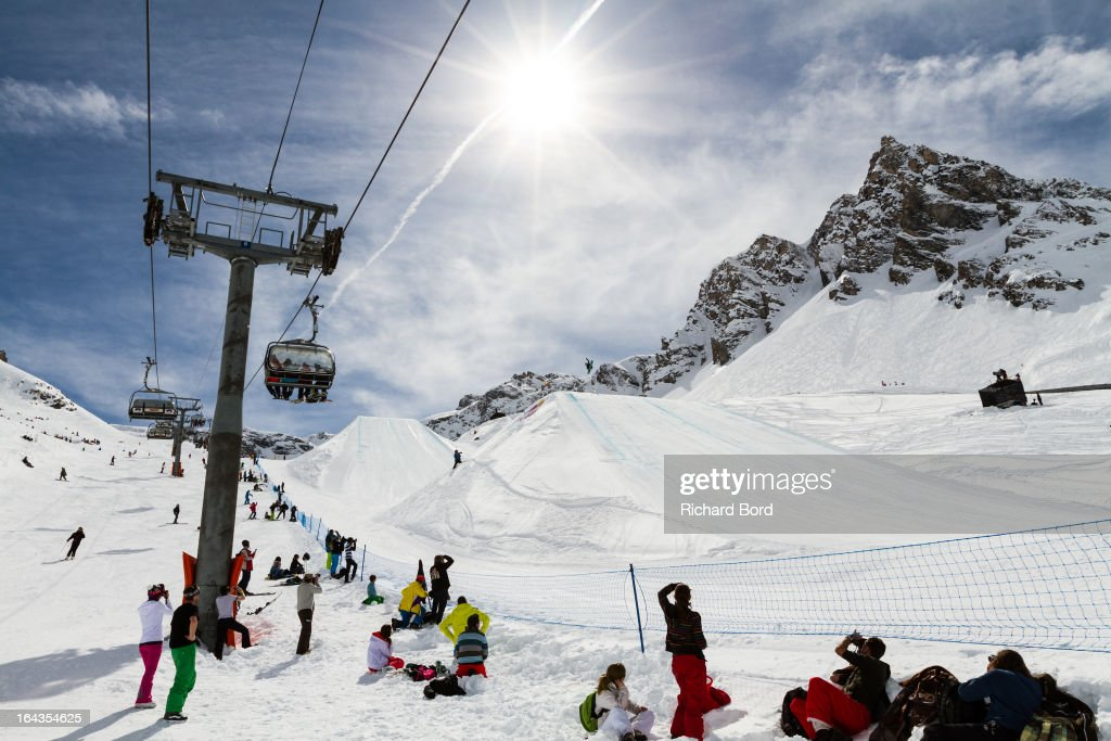 Fourth place Enni Rukajarvi performs during the Woman's Snowboard Slopestyle final during day five of Winter X Games Europe 2013 on March 22 2013 in...