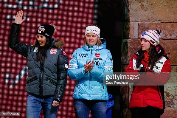Fourth place finisher Cornelia Huetter of Austria fifth place finisher Viktoria Rebensburg of Germany and sixth place finisher Tina Weirather of...