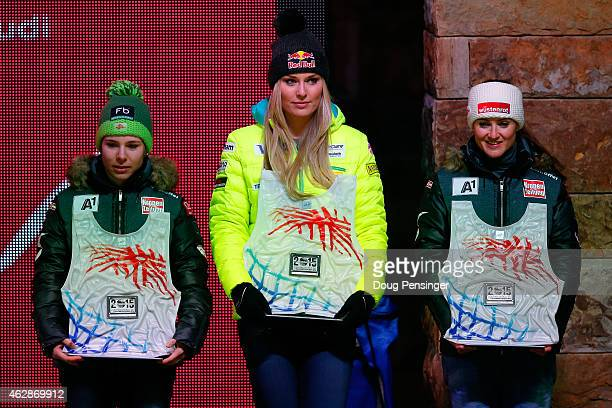 Fourth place finisher Nicole Schmidhofer of Austria fifth place finisher Lindsey Vonn of the United States and sixth place finisher Elisabeth Goergl...