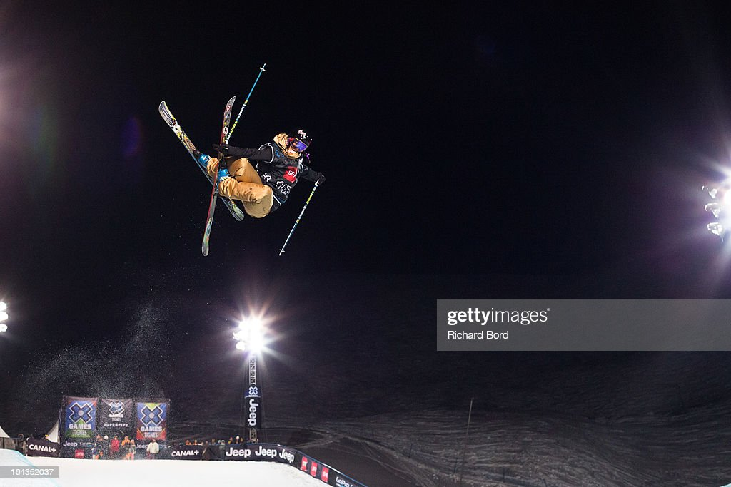 Fourth place Roz Groenewoud performs during the Woman's Ski Superpipe final during day five of Winter X Games Europe 2013 on March 22, 2013 in Tignes, France.