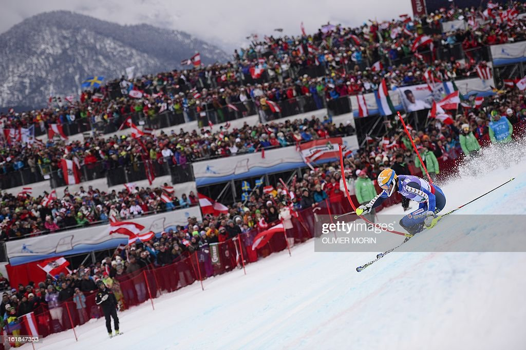 Fourth placed Sweden's Andre Myhrer competes in the second run of the men's slalom at the 2013 Ski World Championships in Schladming, Austria on February 17, 2013.
