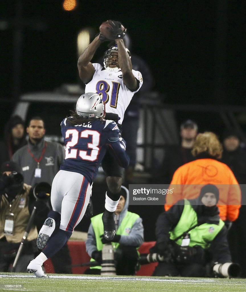 A fourth quarter touchdown pass to Baltimore Ravens player Anquan Boldin, who beats the Patriots' Marquice Cole as the New England Patriots hosted the Baltimore Ravens in the AFC Championship Game at Gillette Stadium.