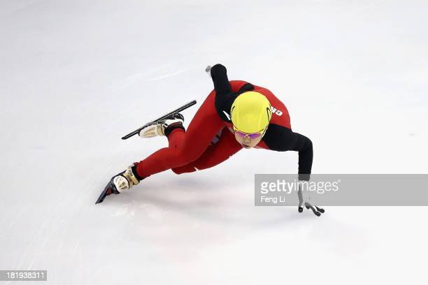 Fourtime Olympic Champion Wang Meng of China competes in the Women's 500m Preliminaries during day one of the 2013/14 Samsung ISU World Cup Short...