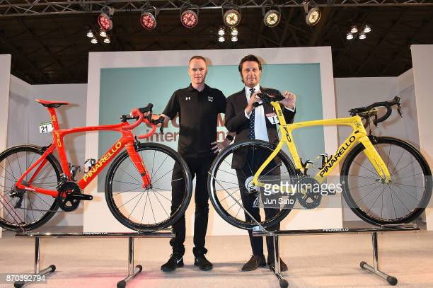 Fourtime Tour de France winner Chris Froome and Pinarello President Fausto Pinarello attends a talk event during Cycle Mode International at Makuhari...