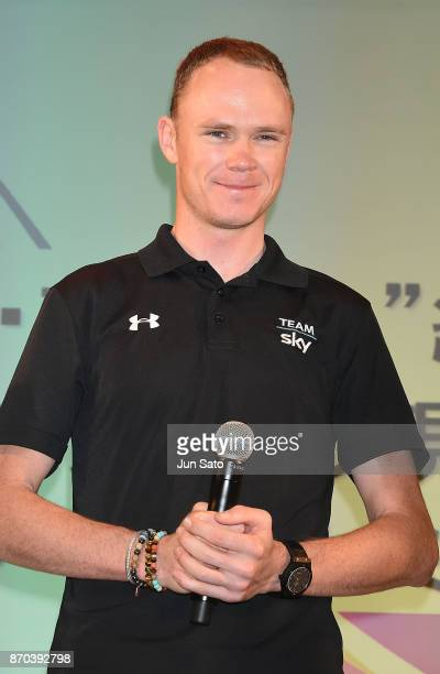 Fourtime Tour de France winner Chris Froome attends a talk event during Cycle Mode International at Makuhari Messe on November 5 2017 in Chiba Japan