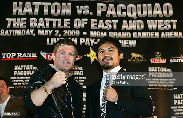 Fourtime world champion Manny 'Pacman' Pacquiao General SantosPhilippines and Ricky 'The Hitman' Hatton Manchester England pose at a press rally...