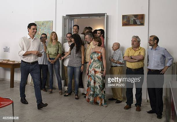 Fourtytwoyearold economist member of parliament and Candidate for the leadership of Spain's Socialist Party Pedro Sanchez arrives to cast his ballot...
