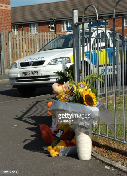 Fowers at the junction of Dalton Close and Billinge Street in Blackburn Lancashire where a sixyearold girl was killed in a hitandrun accident...