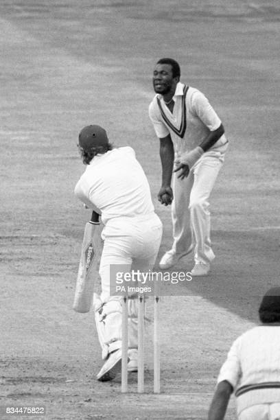 Fowler is caught by West Indian Malcolm Marshall