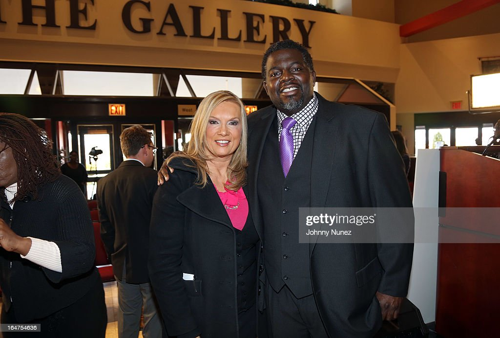 Fox 5 reporter and radio personality Lisa Evers and artist manager Michael Blue Williams attend the Guns 4 Greatness Press Conference at Christian Cultural Center on March 27, 2013, in the Brooklyn borough of New York City.