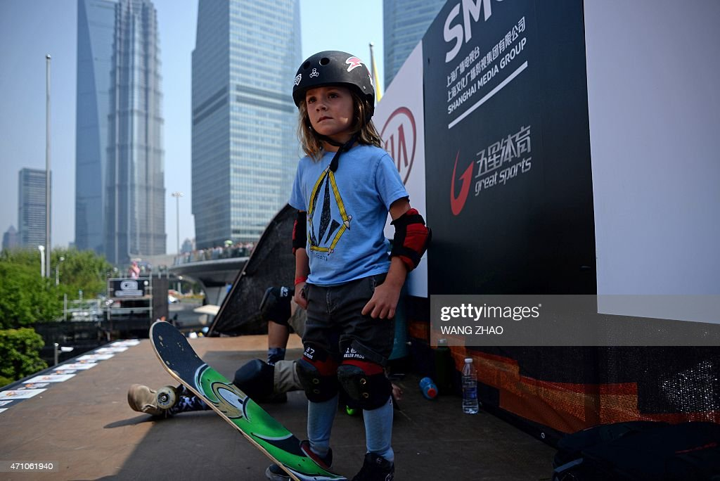 Fox Brunner, aged 5, waits to perform on a skateboard halfpipe demonstration event for the 2015 World Extreme Games in Shanghai on April 25, 2015. This year's Extreme Games will be held from April 28 to May 3.