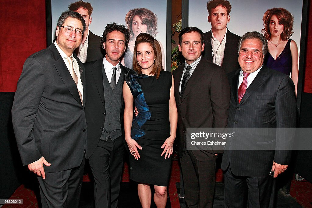 Fox Filmed Entertainment, CEO & Chairman Tom Rothman, director Shawn Levy, actors Tina Fey, Steve Carell and Fox Filmed Entertainment, CEO & Chairman, Jim Gianopulos attend the premiere of 'Date Night' at Ziegfeld Theatre on April 6, 2010 in New York City.