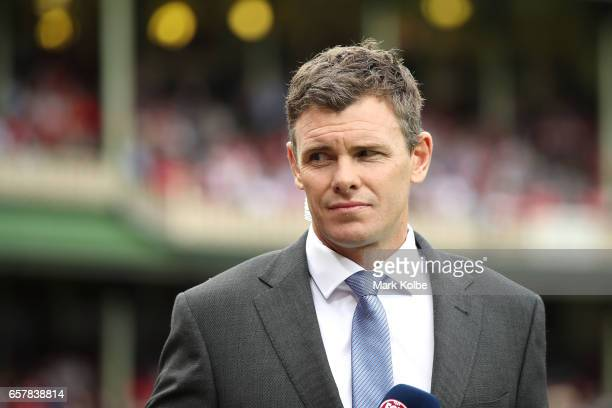Fox Footy commentator Cameron Mooney prepares pregame before the round one AFL match between the Sydney Swans and the Port Adelaide Power at Sydney...