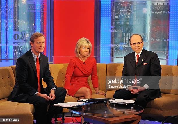 'Fox Friends' coanchors Steve Doocy Gretchen Carlson and Fox News legal analyst Peter Johnson Jr attend 'Fox Friends' at FOX Studios on January 17...