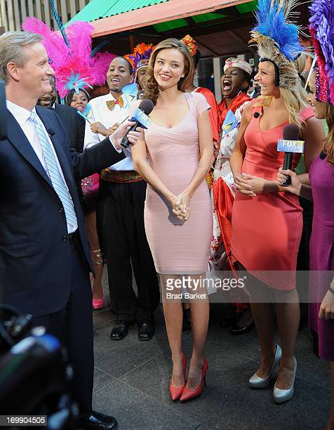 'Fox Friends' host Brian Kilmeade model Miranda Kerr and Anna Kooiman attend 'Fox Friends' at FOX Studios on June 4 2013 in New York City