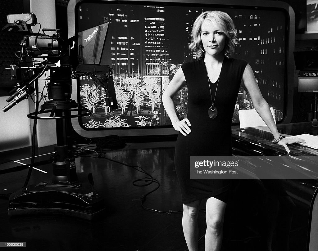 Fox News anchor <a gi-track='captionPersonalityLinkClicked' href=/galleries/search?phrase=Megyn+Kelly&family=editorial&specificpeople=5417318 ng-click='$event.stopPropagation()'>Megyn Kelly</a> stands on the set of her new hit program The Kelly File in New York, NY on December 6th, 2013. Kelly, originally a lawyer with no on camera TV experience, over 10 years has grown to a primetime news anchor sensation.
