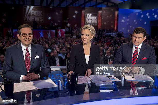 Fox News anchors Chris Wallace from left Megyn Kelly and Brett Baier wait to begin the Republican presidential candidate debate at the Iowa Events...