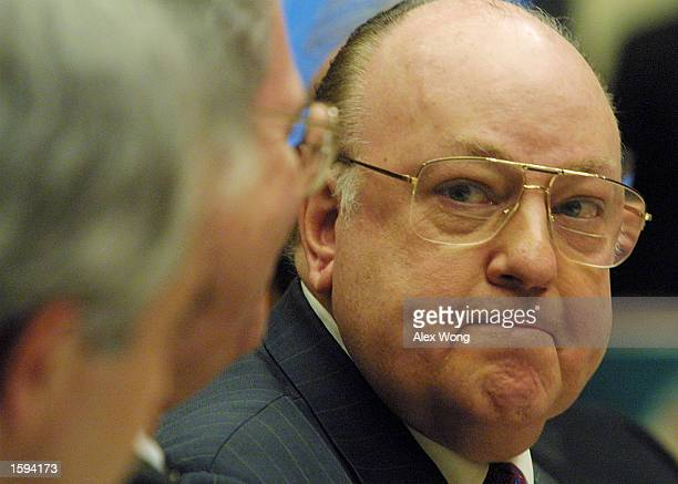 Fox News Chairman and CEO Roger Ailes right testifies during a hearing on election night 2000 coverage by the networks before the House committee on...