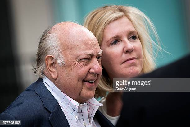 Fox News chairman Roger Ailes walks with his wife Elizabeth Tilson as they leave the News Corp building July 19 2016 in New York City As of late...